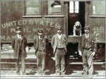Owney on Railroad Car with Clerks